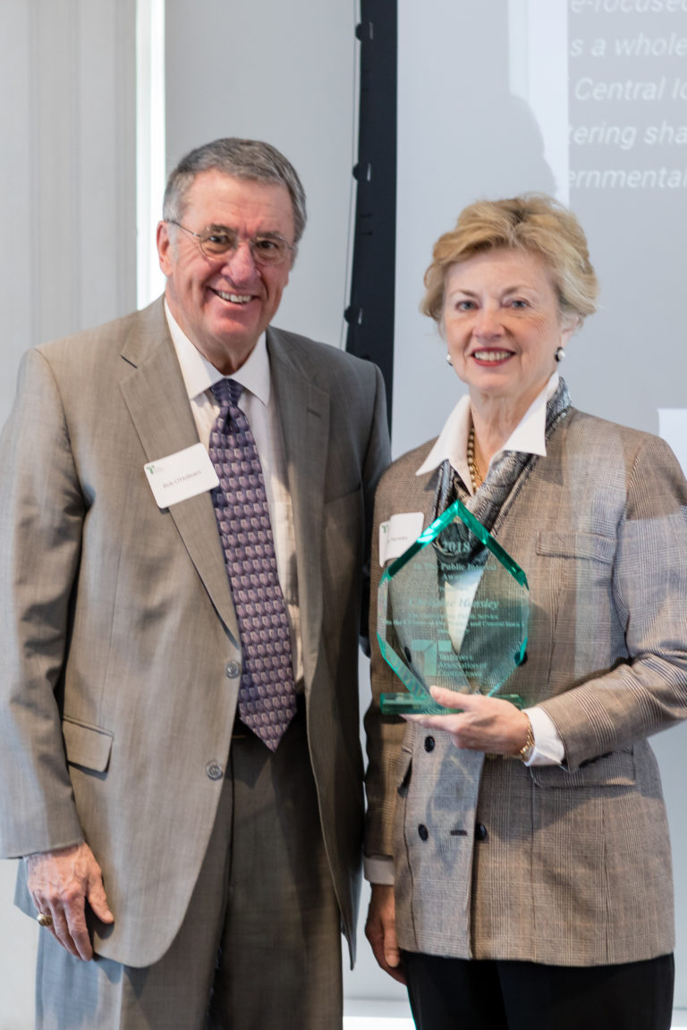 Chairman Bob O'Hollearn presented the In the Public Interest Award to Christine Hensley for 24 years of service on the Des Moines City Council